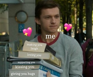 peter parker, tom holland, and wholesome meme image