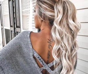 cool, tattoo, and hair image