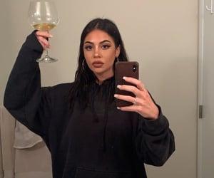 makeup, wine, and selfie image