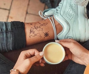 cup, girl, and ink image