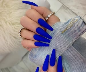 acrylic, blue, and nail inspo image