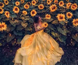 dress, flowers, and sunflower image