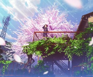 anime, anime girl, and cherry blossom image