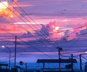 anime, background, and sky image