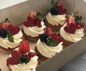 food, cupcake, and strawberry image
