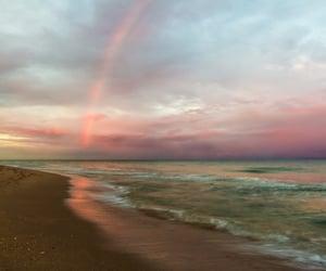beach, sky, and rainbow image