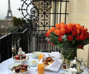 paris, flowers, and breakfast image