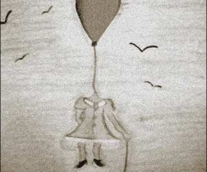 balloon, floating, and black and white image
