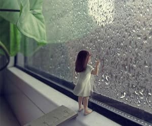 girl, rain, and greenery image