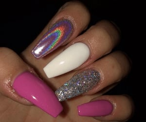hand, white, and coffin nails image