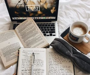 books, coffee, and school image