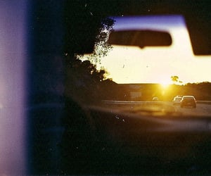 car, sunset, and light image