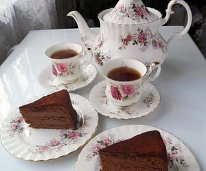 tea, cake, and cup image
