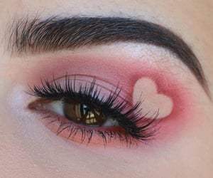 makeup, heart, and pink image