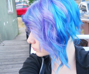 blue hair, girl, and hair image