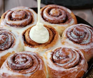 cake, delicious, and cinnamon rolls image