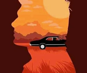dean winchester, 67 chevy impala, and supernatural image