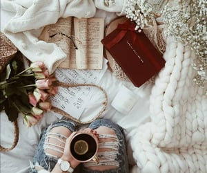 book, tea, and cup of tea image