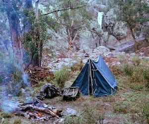 tent, camping, and fire image