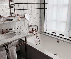 bathroom, bronze, and clean image