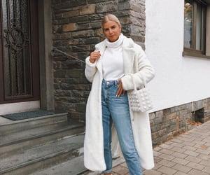 coat, denim, and fashion image