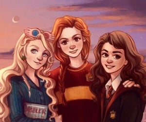 ginny weasley, harry potter, and luna lovegood image