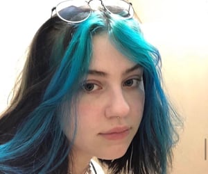 blue hair, colored hair, and edgy image