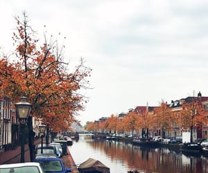 aesthetic, autumn, and canal image