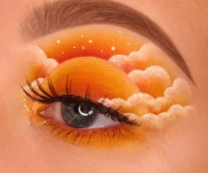 makeup, orange, and art image