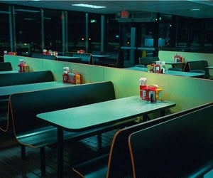 booth, diner, and night image