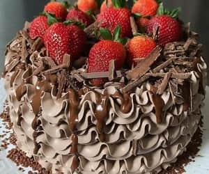 strawberries, cake, and chocolate image