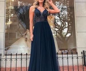 navy blue, beaded prom dress, and sexy formal dress image