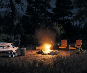 camp, campfire, and forest image