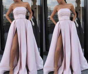 satin dress, pink prom dress, and robe de soirée image