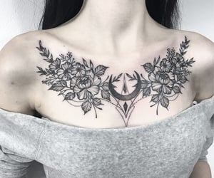 collarbone, tattooedgirl, and flowers image