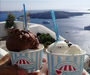 food, ice cream, and santorini image