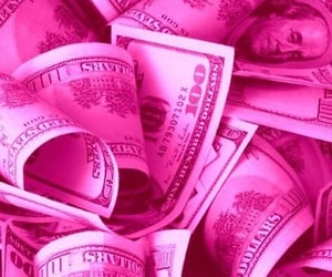 money, pink, and dollar image