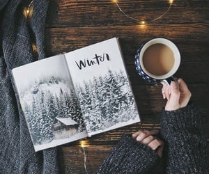 winter, coffee, and book image