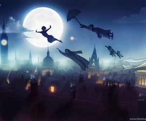peter pan, neverland, and fly image