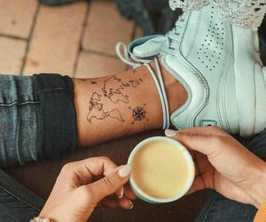 tattoo, coffee, and continents image