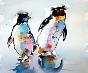 art, paintings, and penguins image