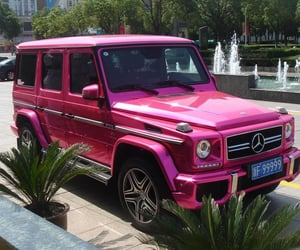 pink, car, and mercedes image