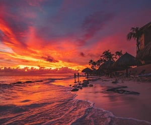 beach, sunset, and travel image