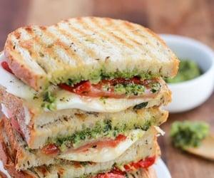 mozzarella, sandwich, and tomato image