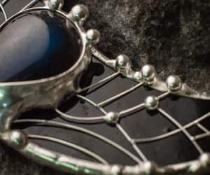 crescent moon, stained glass, and black jewelry image