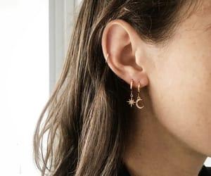 earrings, moon, and girl image
