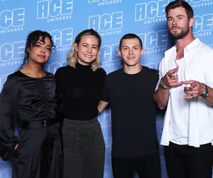 brie larson, chris hemsworth, and tessa thompson image