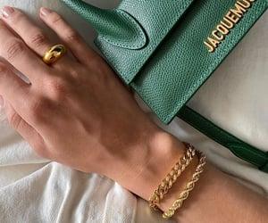 bag, bracelet, and gold image