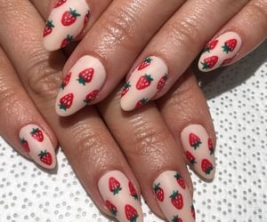 nails, strawberry, and beautiful image