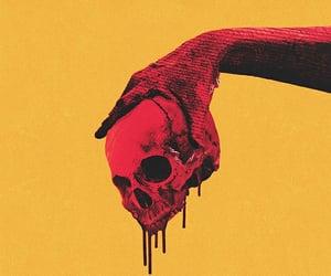 skull, blood, and dark image